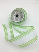 Celebrate IT- Ribbon Lattice with white trims tape (Green) - ribbon 6.4cm x 7.6m