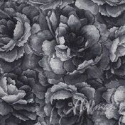 Hoffman 'Belleflower' Charcoal Tonal Blooms Cotton Fabric