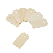 Deco4Fun Blank Wooden Gift Hang Tags Labels (5.7cm x 3.2cm ) - CHOOSE YOUR QUANTITY - for Food Labelling, Presents, Gift Bags, Wine Bottles, Arts & Crafts, Home Decoration, Rustic Wedding