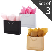 38cm X 30cm Medium Modern Angled Glitter Gift Bags, Set of 3, Assorted Colours