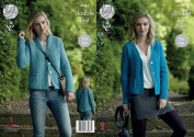 King Cole Ladies Double Knitting Pattern Womens Easy Knit V Neck or Shawl Collar Cardigans