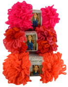 Red Heart Swerve Super Bulky Yarn Bundle 3 Skeins Coral, Fizzy, Berrylicious