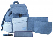 Haru Top-covered Backpack Nappy Bag, Denim Mix
