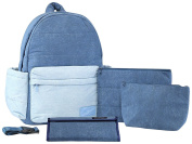 Haru Zipper Backpack Nappy Bag, Denim Mix