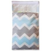 Tiny Tote Along Nappy Bag - Grey & Blue Chevron