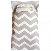 Tiny Tote Along Nappy Bag - Grey & White Chevron Print
