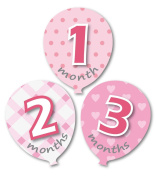 'MuchMore' Baby Monthly Stickers Ballon Shape Milestone's Stickers.These Infant month stickers are Great Shower Gift Excellent Baby Photo Props and Great Growth chart start #8005