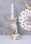 Porcelain Candlestick Baroque Style Angel Palazzo Exclusive