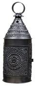 Antique Blackened Finish Punched Tin Bakers Candle Lantern 36cm