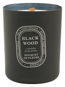 Galileo Casa Black Wood Scented Candle Bouquet De Fleurs, Wax/Glass, Black, 10 x 10 x 12 cm
