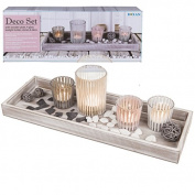 40CM WOODEN DECORATION TRAY HOME GIFT CANDLE STAND + 4 GLASS TEALIGHT HOLDERS