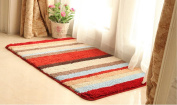 DU & LU Small Rug Mat Doormat Well Woven Modern Kids Room Kitchen Rug Accent Area Rug Entry Way Red stripes Carpet Bathroom Soft Durable,40cm ×90cm , A