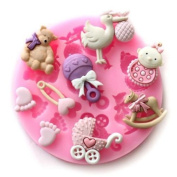 Baby Assortment 9 Cavities Silicone Mould for Fondant Cake Decorating - NEW