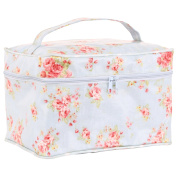 Neoviva Collapsible Waterproof Makeup Case with Carrying Handle, Floral Ballad Blue