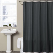 Chelsea Home Verse Flannel Fabric Shower Curtain Charcoal Grey