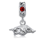 NCAA University of Arkansas Razorbacks Jewellery - Sterling Silver Women's Charms and Charm Beads