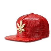 MCSAYS Fashion Hip Hop Style Crystal CZ Iced Out Weed Pendant Gan Marijna leaf Adjustable Snapback PU Leather Baseball Cap/ Hats Sports Hat