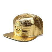 MCSAYS Fashion Hip Hop Style Crystal CZ Iced Out Skull Pendant Adjustable Snapback PU Leather Baseball Cap/ Hats Sports Hat