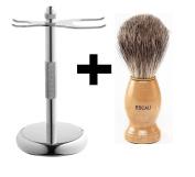 Escali Badger Shaving Brush and Razor Brush stand