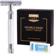 Double Edge Safety Razor with 20 Derby Blades - Chrome Finish 10cm Long Handle, Rust Free and Unbreakable - By Utopia Care