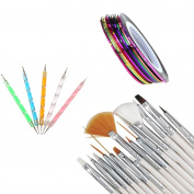 Nail Art Multicolor, RIUDA 30PCS Nail Art Design Dotting Painting Drawing Polish Brush Pen Tool