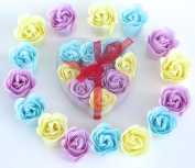 Valentine Rose Bath Bomb, Nine Colourful Charing Rose Flowers in a heart gift box. 3blue+3purple+3Yellow, 9go