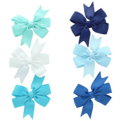 My Lello Small 6.4cm Girls Hair-Bow Boutique Pinwheel Mixed Variety 6 Pack Aqua/White/Turquoise/Navy/Light Blue/Nautical Blue