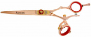Kissaki Hair Scissors Gokatana 15cm Double Swivel Rose Gold R Titanium Hair Cutting Shears