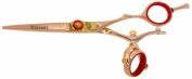 Kissaki Hair Scissors Gokatana 14cm Double Swivel Rose Gold R Titanium Hair Cutting Shears