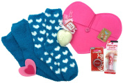 Maybelline Baby Lips Balm Crystal Kiss and Blue Fuzzy Socks, Coca Cola Lip Smacker, Heart Shaped Soap and Pink Felt Heart Envelope