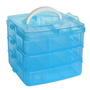 MINGHU 3-Tier Transparent Stackable Adjustable Compartment Slot Plastic Craft Storage Box Organiser 3 Sizes 4 Candy Colours Available