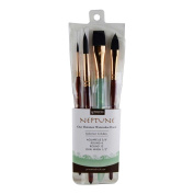 Princeton Artist Brush Neptune, Brushes for Watercolour Series 4750, 4 Piece Professional Set 300