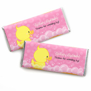 Pink Ducky Duck - Candy Bar Wrappers Girl Baby Shower or Birthday Party Favours - Set of 24