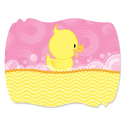 Pink Ducky Duck - Squiggle Girl Baby Shower or Birthday Party Sticker Labels