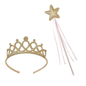Talking Tables We Heart Pink Princess Tiara and Fairy Wand Set for a Children's Party or Dress Up Pretend Play, Gold/Pink