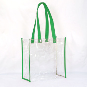 Large Clear Tote Bag, NFL Football Stadium Approved with Handles 12x12x6 for Men and Women, Clear Vinyl with Coloured Trim