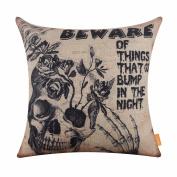 LINKWELL 46cm x 46cm Happy Halloween Scary Horrible Skull Burlap Throw Cushion Cover CC1181