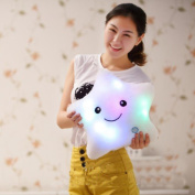 GBSELL Star Shaped Glowing LED Pillow 7 Colour Changing Light Up Soft Cushion Home Car Decor Women Girls Toys Gift