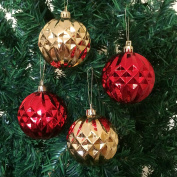 4PC/Pack Shatterproof Christmas Ball Ornaments 70mm (2-3/4 Inch) - Red/Gold - Shiny