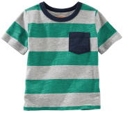 Oshkosh Boy's Short Sleeve Striped Pocket Tee; Green/Grey/Navy