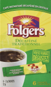 Folgers Classic Roast Instant Coffee Crystals Decaf 6 Packets {Imported from Canada}