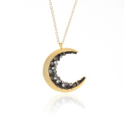 Laonato Crescent Moon and Black Crystal Necklace 60cm