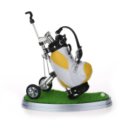 10L0L Golf Pens with Golf Bag Holder,Novelty Gifts with 3 Pieces Aluminium Pen Office Desk Golf Bag Pencil Holder for Men Fathers Day,Golf Souvenirs Unique Gifts For Golfer Fans Coworker