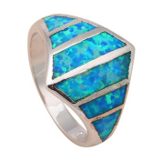 NEROY Popular Product S Blue Fire Created Opal 925 Silver Wedding Rings For Women Created Opal Jewellery Usa Size 5.5 6.5 7 7.5 8 9 Or518A