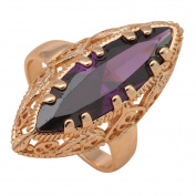 NEROY 18K Gold Plated Fashion Jewellery Amethyst Rings Statement Ring for Women Size 7 8 9 10 Jrs2023A