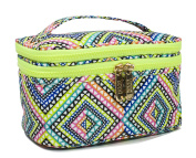 LONDON SOHO NEW YORK Diamond & Feathers Collection Cosmetic Double-Zip Train Case