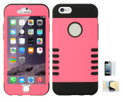 Iphone 6, 6s, [Hot Pink] Shock Absorbing Hybrid Rubber Plastic Impact Defender Hard Cover Shell Momiji Cleaning Cloth, [Screen Guard] Screen Protector For Apple Iphone 6, 6s