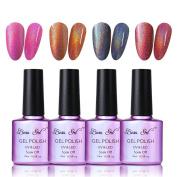Beau Gel Soak off Nail Polish, 4pcs Holographic Shining Manicure Nail Varnish Set Colourful Rainbow Beauty Salon Starter Kit