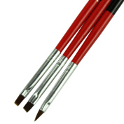 ☀ KESEE 3pcs/lot Red Soft and Professional Pen Nail Art Brushes Tool Set
