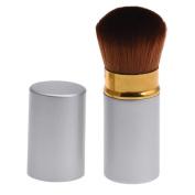 Leewa Metal + Nylon Hair Silver Extendable Cosmetic Dome Blush Brush